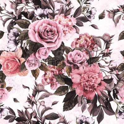 Nálepka Květinový vzor bezešvé s růžovými růžemi a pivoňky na akvarel zázemí.