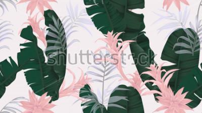 Nálepka Květinový vzor bezešvé, zelené banánové listy, růžové Bromeliaceae rostlin a palmových listů na světle šedém pozadí, pastelové vinobraní téma