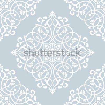 Nálepka Květinový vzor. Tapeta barokní, damaškové. Bezešvá vektorová pozadí. Modrý a bílý ornament.