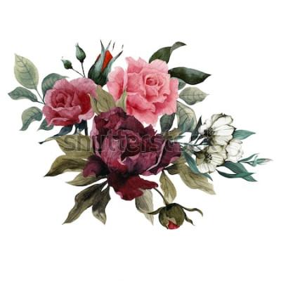 Nálepka Kytice růží, pivoněk a eustoma, akvarel, lze použít jako přání, pozvánky na svatbu, narozeniny a jiné svátky a letní pozadí