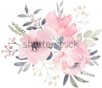 Nálepka Kytice složení zdobené zaprášené růžové květy akvarel a eukalyptová zeleň