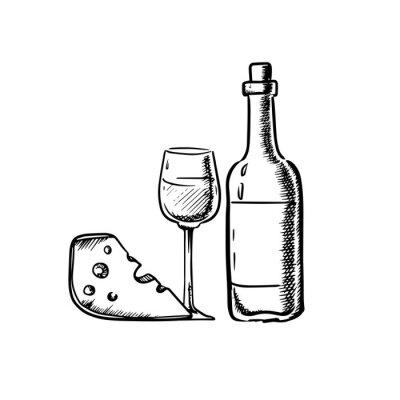 Nálepka Láhev na víno se sklem a sýrem