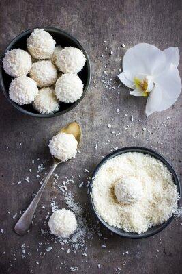 Nálepka lahodný homamade bílé čokolády a kokosové cukroví koule