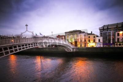 Nálepka Landmark Ha'penny most přes řeky Liffey v Dublinu
