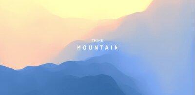 Nálepka Landscape with mountains and sun. Sunrise. Mountainous terrain. Abstract background. Vector illustration.