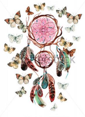 Nálepka Lapač snů s peří a mandalo. Akvarel etnické dreamcatcher a motýl izolovaných na bílém pozadí. Ručně malovaná ilustrace pro váš design