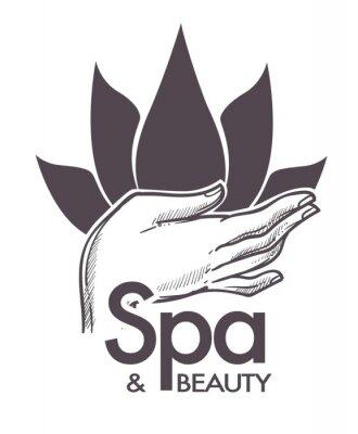 Nálepka Lázně a krása, kosmetické procedury, aromaterapie v salonu vektoru.