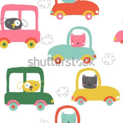 Nálepka Legrační zvířata v autech bezešvé pattern. Roztomilé děti tisknout. Vektorové ručně tažené ilustrace.