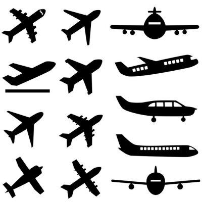 Nálepka Letadla v černé barvě