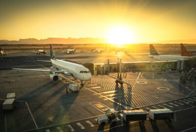Nálepka Letadlo v terminálu, v mezinárodním letišti
