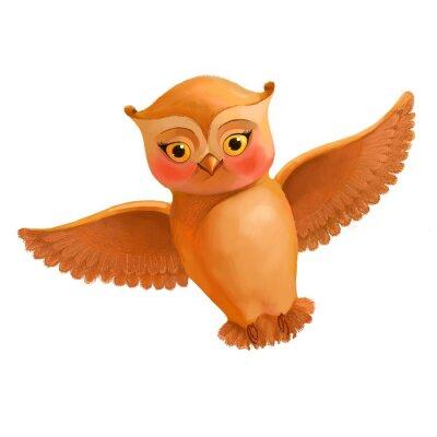Nálepka Létání ikonu sova. Ilustrace v kreslený styl hnědé sovy. S