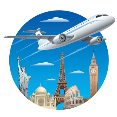 Nálepka Letecká doprava koncepce