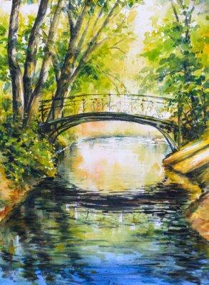 Nálepka Letní krajina s mostem přes řeku v park.Picture vytvořen s akvarely.