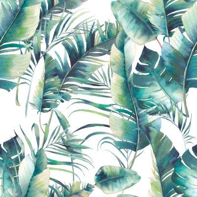 Letní palma a banánové listy bezproblémové vzorek. Textury akvarelu se zelenými větvemi na bílém pozadí. Ručně kreslený tropický tapetový design