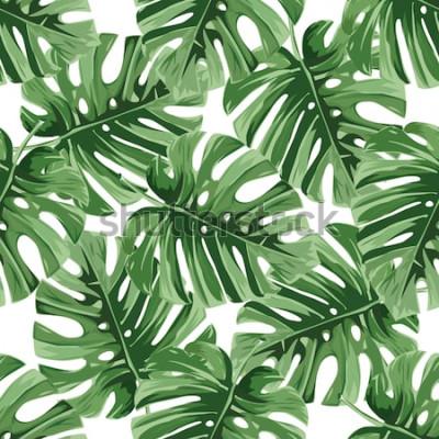 Nálepka Letní pozadí. Tropické palmové listy, džungle listy bezešvá vektorová květinový vzor.