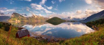 Nálepka Letní západ slunce panorama Lofoten ostrovy, Norsko