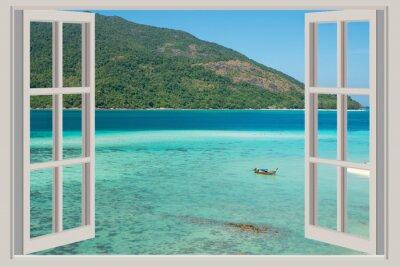 Nálepka Léto, Cestování, Dovolená a prázdniny koncepce - Otevřené okno,