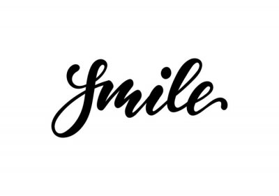 Nálepka lettering poster smile. Inspirational and motivational quotes, isolated on the white background. design for invitation, print, photo overlays, typography holiday greeting card, t-shirt, flyer design