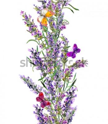Nálepka Levandule bezešvé rám a motýli. Akvarel pruh