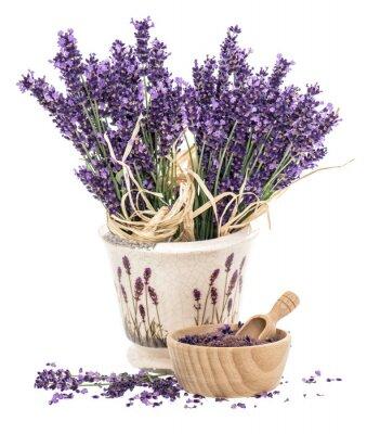 Nálepka Levandule květiny a dřevěný malty s koupelové soli