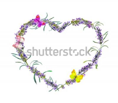 Nálepka Levandulové květy a motýli. Akvarel květinové srdce rám pro Valentýna, svatba