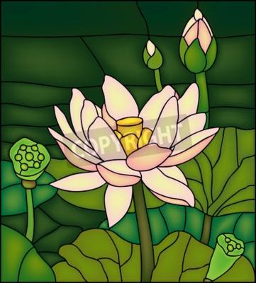 Nálepka Lily v rybníku, vitráže winow