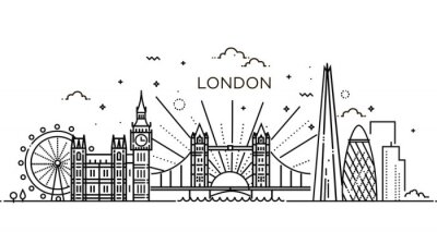 Nálepka Lineární banner londýnského města.