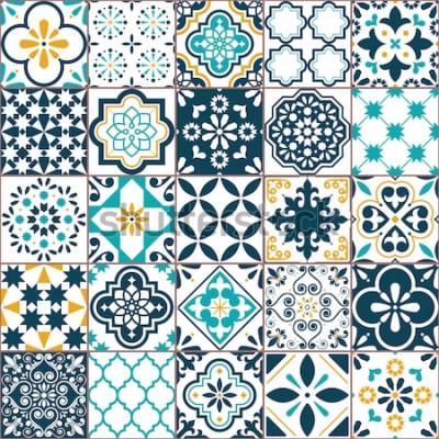 Nálepka Lisabon geometrické dlaždice Azulejo vektor vzor, portugalské nebo španělské retro staré dlaždice mozaika, středomořské bezešvé tyrkysové a žluté provedení. Ozdobné textilní pozadí