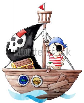 Nálepka Little pirate boy with his ship