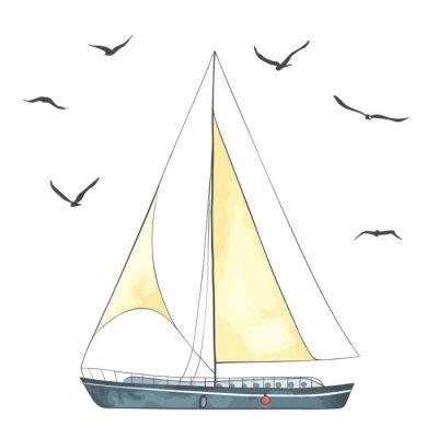 Nálepka Loď s plachtami a racků vyrobeny ve vektoru