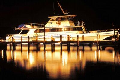 Nálepka Loď v noci / člun a reflexe na Jupiteru na Floridě