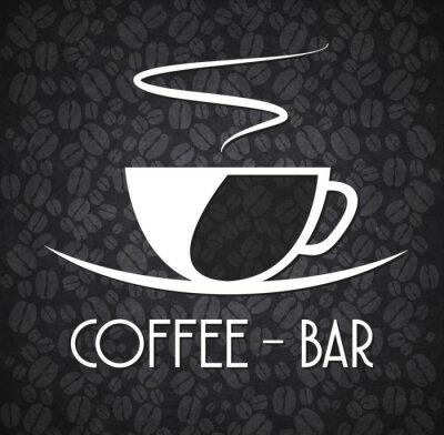 Nálepka Logo Minimalistický Coffee Bar Black and White
