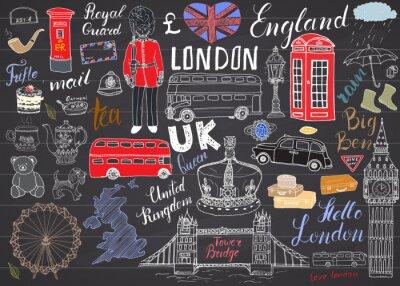 Nálepka London City čmáranice prvky kolekce. Ručně malovaná sada s, Tower Bridge, koruny, Big Ben královské stráže, červený autobus, mapy Velké Británie a vlajky, konvice na čaj, nápisy, vektorové ilustrace n