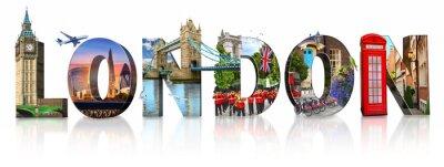 Nálepka London city landmarks. Word illustration of most famous London monuments and places
