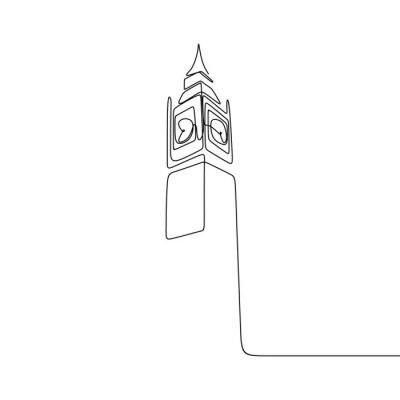 Nálepka London City of Westminster Big Ben clock tower one line drawing minimalist design