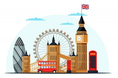 Nálepka London cityscape flat vector color illustration