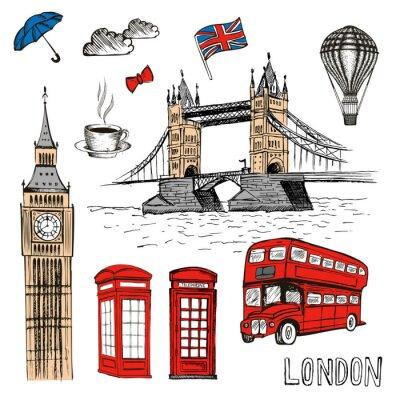 Nálepka London Doodles. Vektor ručně kreslené ilustrace s symboly v Londýně