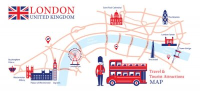 Nálepka London, England Travel and Tourist Attraction Map