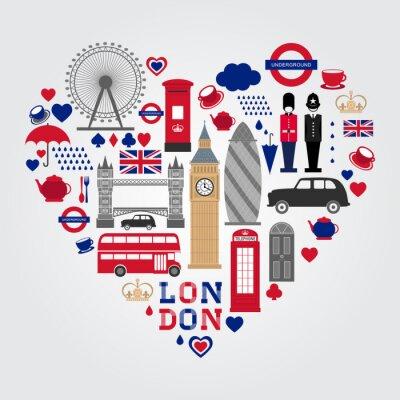 Nálepka London Hearth Symbols Set. Velká Británie sbírka ikon.