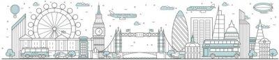 Nálepka London skyline. Line cityscape with building landmarks horizontal panorama. London skyline with Big Ben, Tower Bridge street city sights. Capital city constructions outline, architecture concept