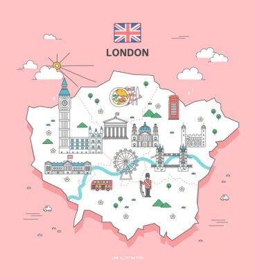 Nálepka London Travel Landmark Collection