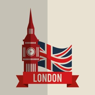 Nálepka Londýn ikony designu