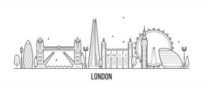 Nálepka Londýn panorama, Anglie, Velká Británie městské budovy vektor