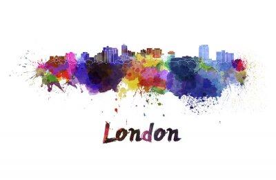 Nálepka Londýn panorama v akvarel