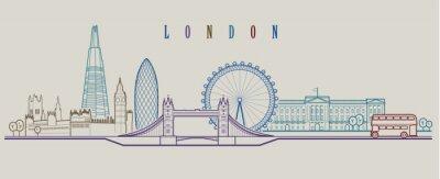 Nálepka Londýn panorama. Vektorové pozadí. Obrys grafické ilustrace.