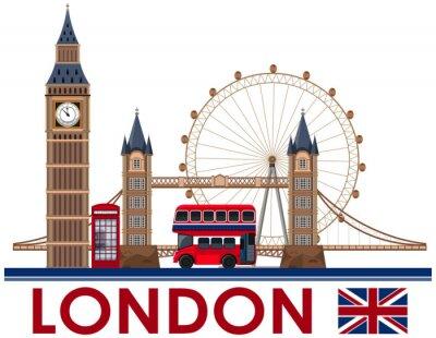 Nálepka Londýnský orientační bod na bílém pozadí