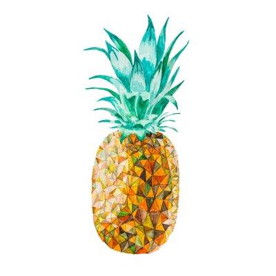 Nálepka Low poly akvarel ananas
