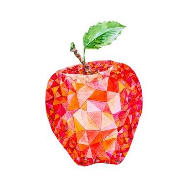 Nálepka Low poly akvarel jablko