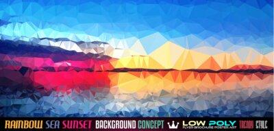 Nálepka Low Poly tSea Sunset Umělecká zázemí pro vaši polygonální leták