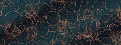 Nálepka Luxury Orchid wallpaper design vector. Tropical pattern design,Blossom floral,  Blooming realistic isolated flowers. Hand drawn. Vector illustration.